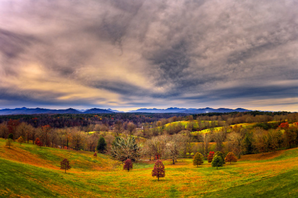 Fall Hiking Trails Near Asheville Biltmore with view of fall trees from the loggia