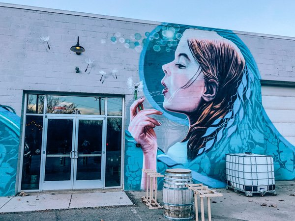 pleb urban winery in River Arts District (RAD Neighborhood) with street art of  woman blowing on dandelion