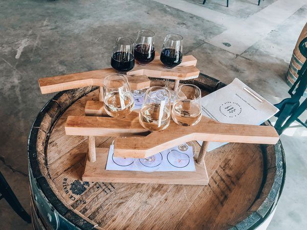 pleb urban winery wine flight