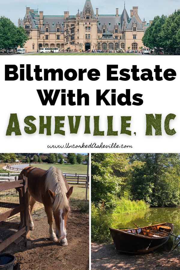 Things To Do At Biltmore Estate With Kids with pictures of Biltmore House, brown and white horse at Biltmore Farmyard and boat on Lagoon for fly fishing