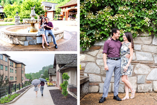 Asheville NC Living Biltmore Estate with white brunette male and female drinking wine by fountain in Antler Hill Village, walking with umbrellas, and posing for a picture