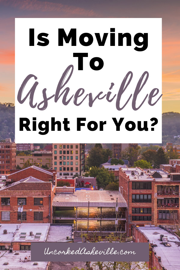 Living In Asheville NC Pinterest Pin with city of Asheville, North Carolina buildings and sun over purple mountains