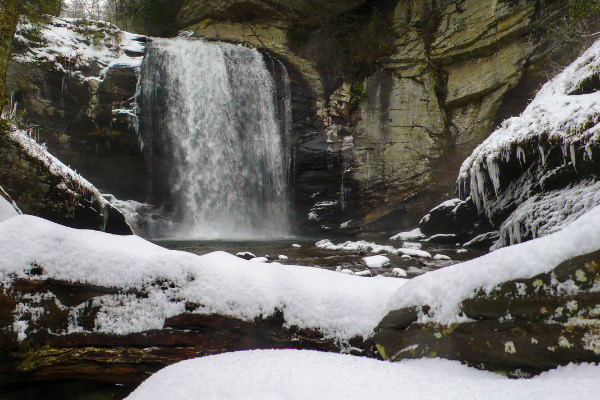 Living in Asheville NC In The Winter Looking Glass Falls with snow and ice