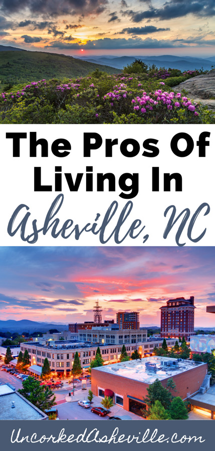 Pros and cons of living in Asheville, NC Pinterest pin with Blue Ridge Parkway and downtown Asheville cityscape at sunset