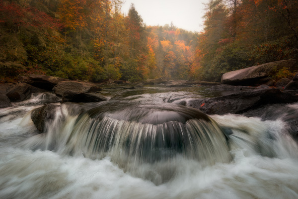 Pros of Moving To Asheville DuPont and Hooker Falls in the fall