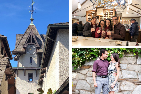 Best Things To Do At Biltmore Winery with clock tower, family wine tasting, and brunette white couple in Antler Hill Village