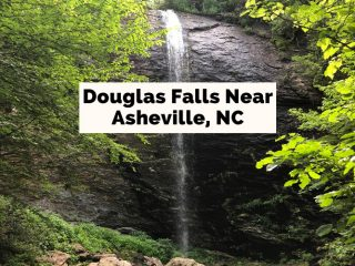 Douglas Falls Near Asheville NC blog post cover with waterfall