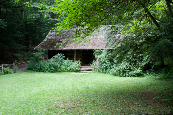 Hayes Cabin Asheville NC Botanical Garden surrounded by green trees