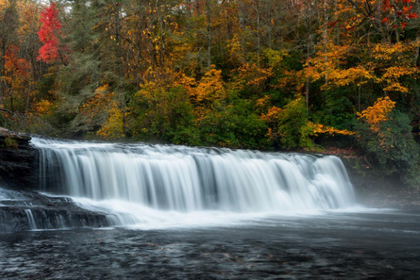 Hooker Falls at DuPont Waterfalls near Asheville NC in the fall