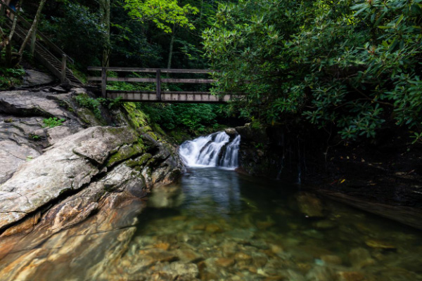 Skinny Dip Falls Asheville Swimming Holes and Waterfalls with bridge