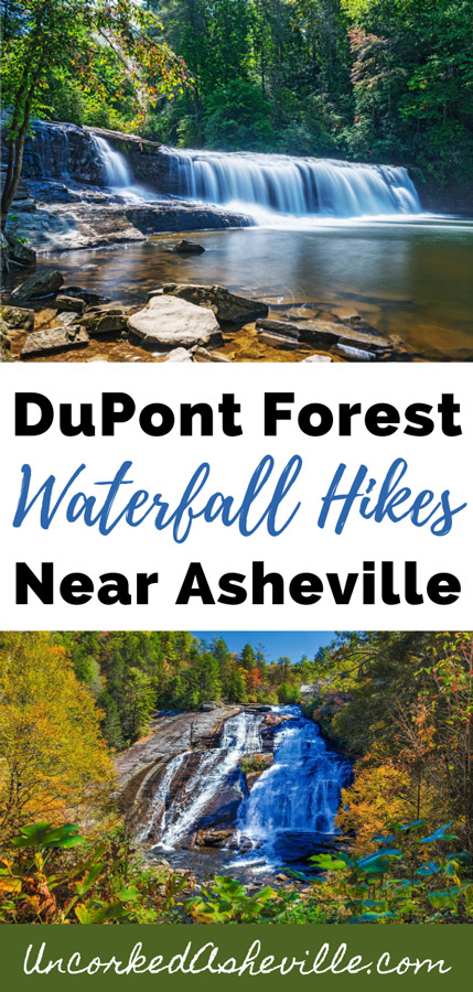 Amazing DuPont State Forest Waterfall Hikes and Trails Pinterest Pin with picture of Hooker Falls and Triple falls in the fall