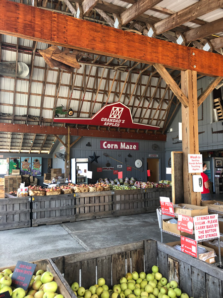 Hendersonville Apple Orchards Grandad's Apples Farm Store with crates filled with apples