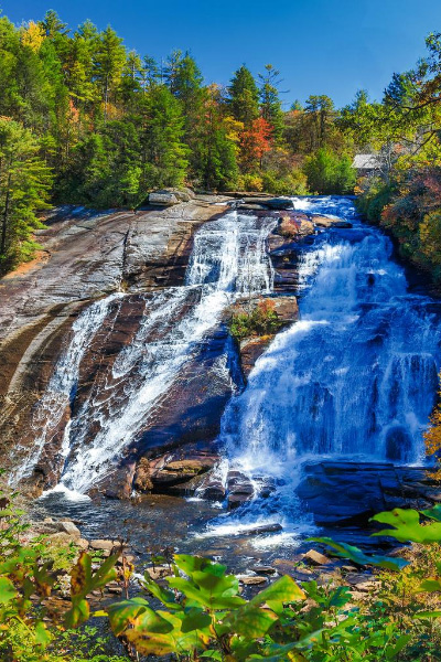 High Falls DuPont State Forest waterfall in fall