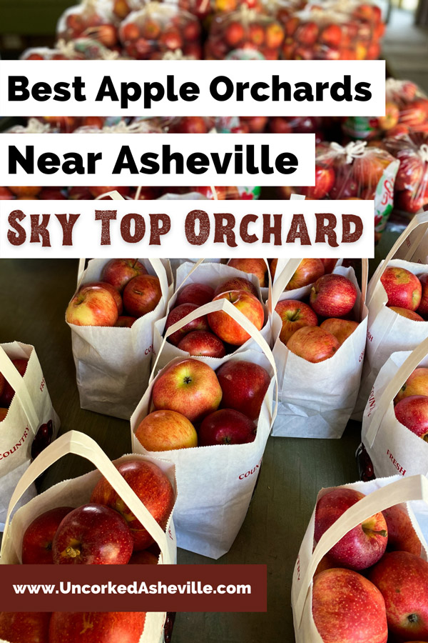 Sky Top Apple Orchard Flat Rock NC Pinterest pin with bags of red apples