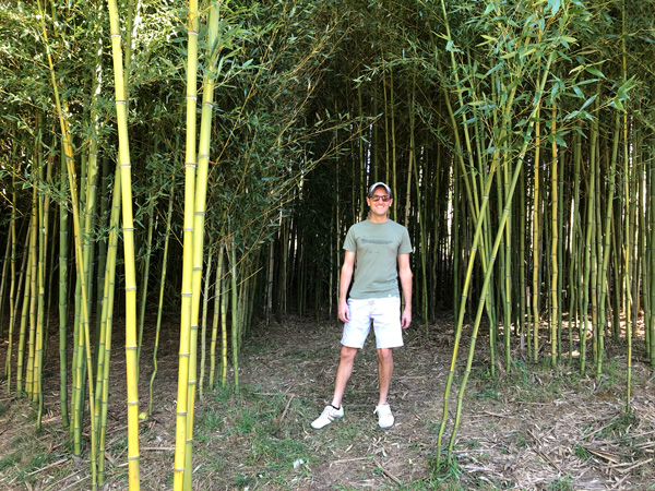 Sky Top Orchard in Flat Rock Bamboo Forest white male wearing a hat, sunglasses, and green shirt standing in a bamboo forest