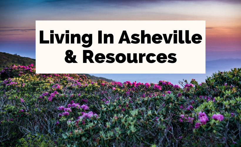 Asheville Living and Resources with Blue Ridge Mountains and colorful flowers