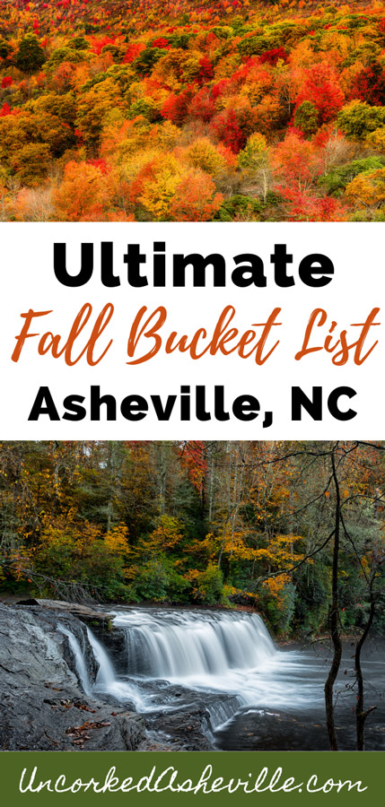 Asheville NC Fall Things To Do Pinterest Pin with fall foliage leaves and Hooker Falls at DuPont Forest in the fall