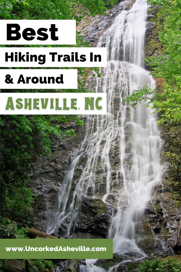 Best Hiking Trails Near Asheville NC Pinterest pin with Mingo Falls in Cherokee NC