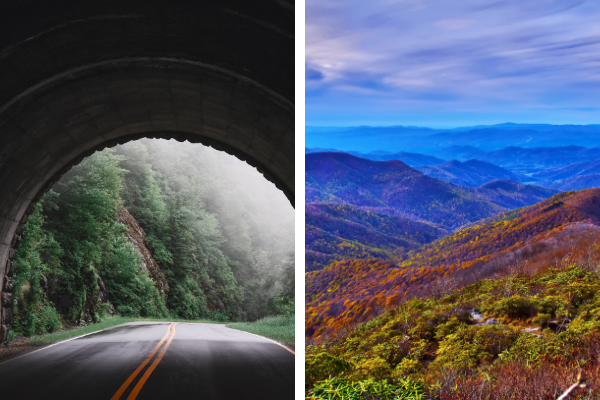 Blue Ridge Parkway Asheville NC with two pictures of a foggy tunnel and Blue Ridge Mountains with trees