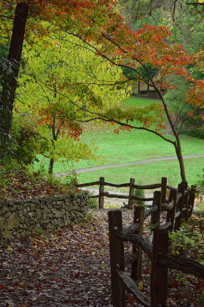 Botanical Gardens In Asheville NC with nature trail and fall foliage