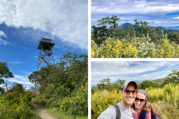 Fryingpan Lookout Tower and Hiking Trail with three pictures including Fryingpan Lookout Tower, white brunette male and female with yellow wildflowers and blue mountains in the background, and view of Mount Pisgah on the Blue Ridge Parkway