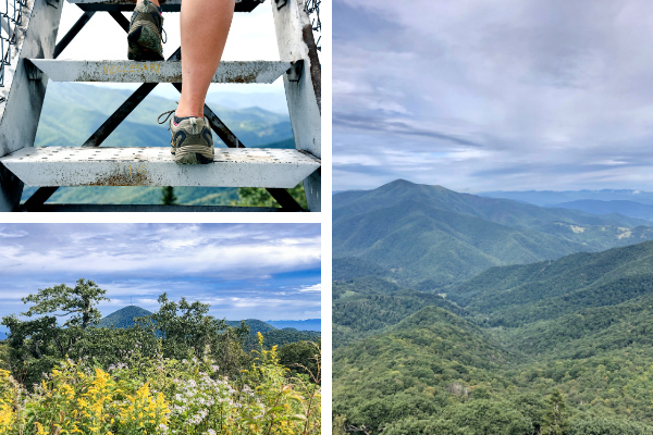 Fryingpan Mountain Tower and Mount Pisgah Near Skinny Dip Falls collage with sneakers hiking up Fryingpan Tower stairs, view of Mount Pisgah from Fryingpan Mountain Trail, and panoramic views of Cold Mountain, Pisgah National Forest, and Looking Glass Rock From Fryingpan Lookout Tower