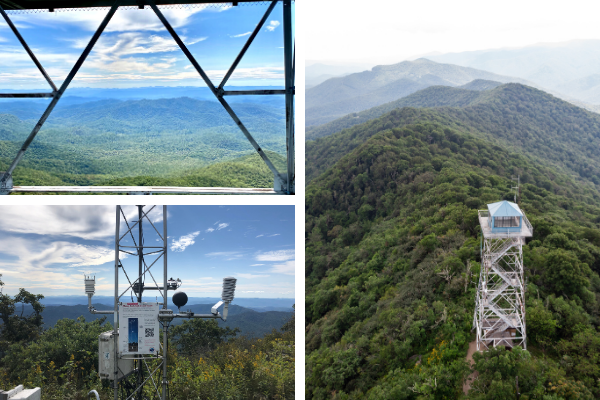 Fryingpan Mountain Trail Tower View with three pictures of weather station, aerial view of Fryingpan Lookout Tower, and views from Frying Mountain Tower