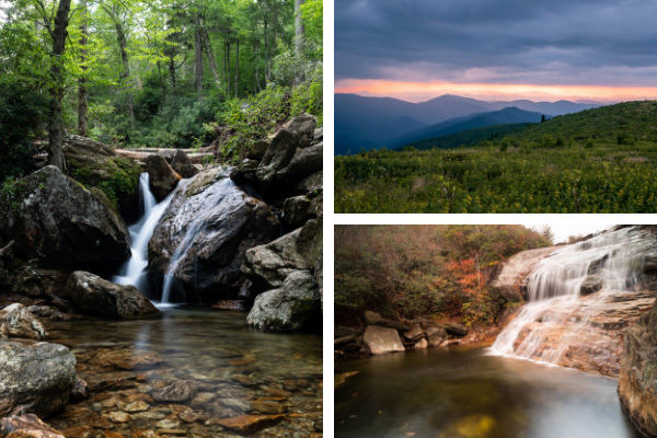 Hikes Near Mount Pisgah Trail collage with pictures of Skinny Dip Falls, Black Balsam Knob, and Lower Falls at Graveyard Fields