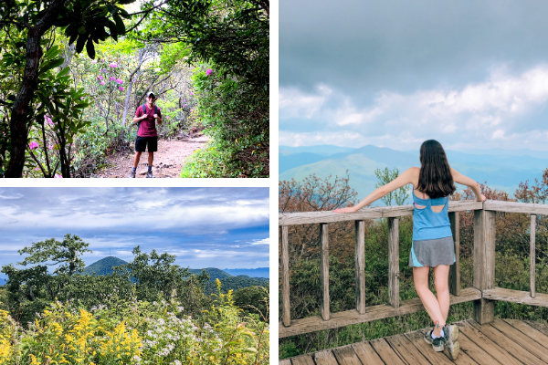 Mount Pisgah Trail and Hike Blue Ridge Parkway, North Carolina collage with white brunette male on Mount Pisgah hike, picture of Mount Pisgah as seen from Fryingpan Mountain Trail, and brunette white woman at Mount Pisgah summit and observation deck