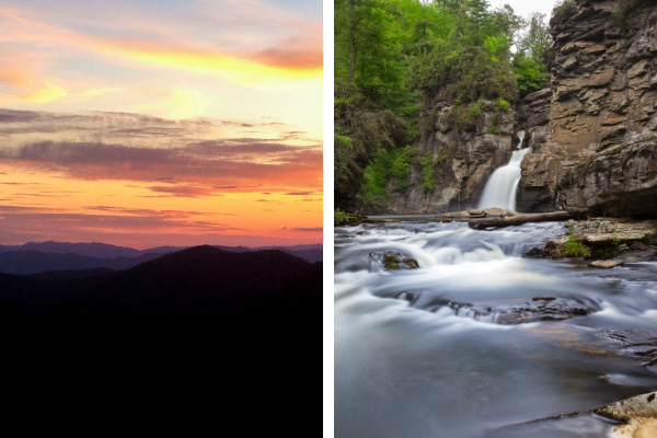Pisgah National Forest Near Asheville, NC with two pictures with Pisgah Forest at sunset and second of Linville Falls