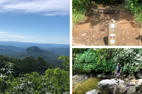 Skinny Dip Falls Blue Ridge Parkway North Carolina photo collage with pictures of Looking Glass Rock from Looking Glass Overlook, the Mountain to Sea Trailhead marking Skinny Dip Falls Hike, and the cliff jumping rock at Skinny Dip Falls