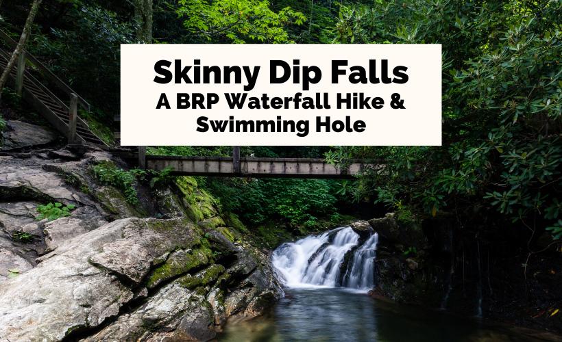 Skinny Dip Falls Hike NC with steps, foot bridge and waterfall