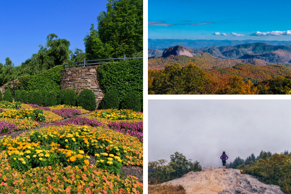 Things To Do Near Mt Pisgah Hike collage with The North Carolina Arboretum Quilted Garden, Looking Glass Rock from Blue Ridge Parkway, and Black Balsam Art Loeb Trail in the fall
