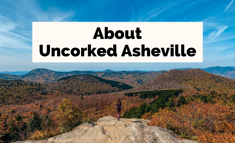 About Me Uncorked Asheville with Sam Knob white female standing on a rock looking out at mountains
