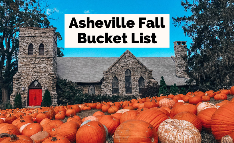 Asheville NC Fall Bucket List church with pumpkins out front