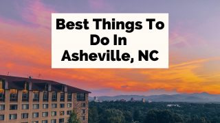 Best Things To Do In Asheville NC sunset over downtown Asheville, North Carolina from the Omni Grove Park Inn