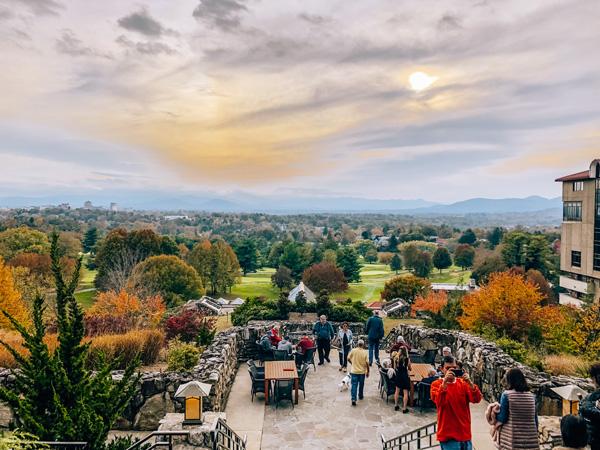 Best Things To Do In Asheville NC Grove Park Inn sunset over terrace
