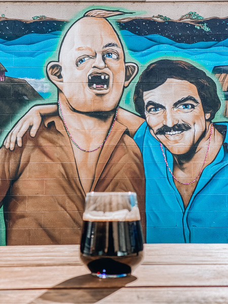 Lager at Burial Brewing Co Asheville with Sloth and Tom Selleck mural