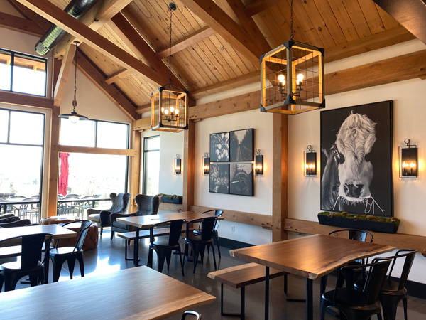 Stone Ashe Vineyards Hendersonville Wineries with tasting room with high wood ceilings and black and white cow painting
