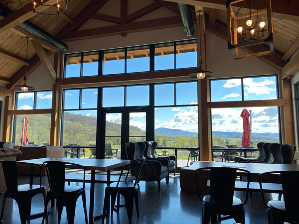 Stone Ashe Vineyards Tasting Room with mountain views out huge windows