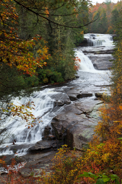 The Hunger Games Waterfalls Triple Falls DuPont Forest three-tiered  waterfall in fall
