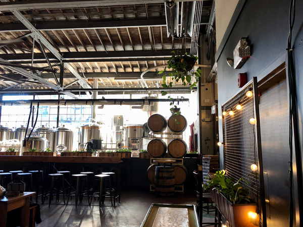 Twin Leaf Brewery Downtown Asheville with picture of taproom