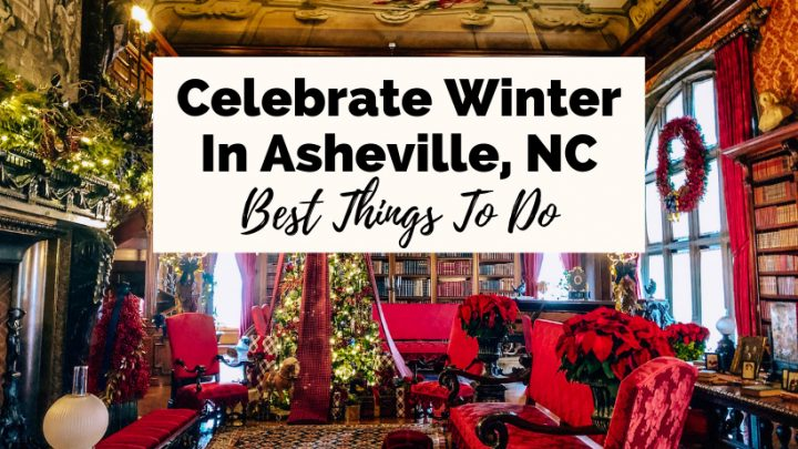 Asheville Winter Things To Do Biltmore Estate Decorated With Trees and Lights at Christmas