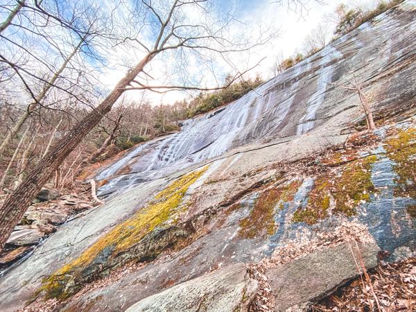 Asheville Winter Hikes Wildcat Rock Little Bearwallow Falls in Gerton with frozen waterfall