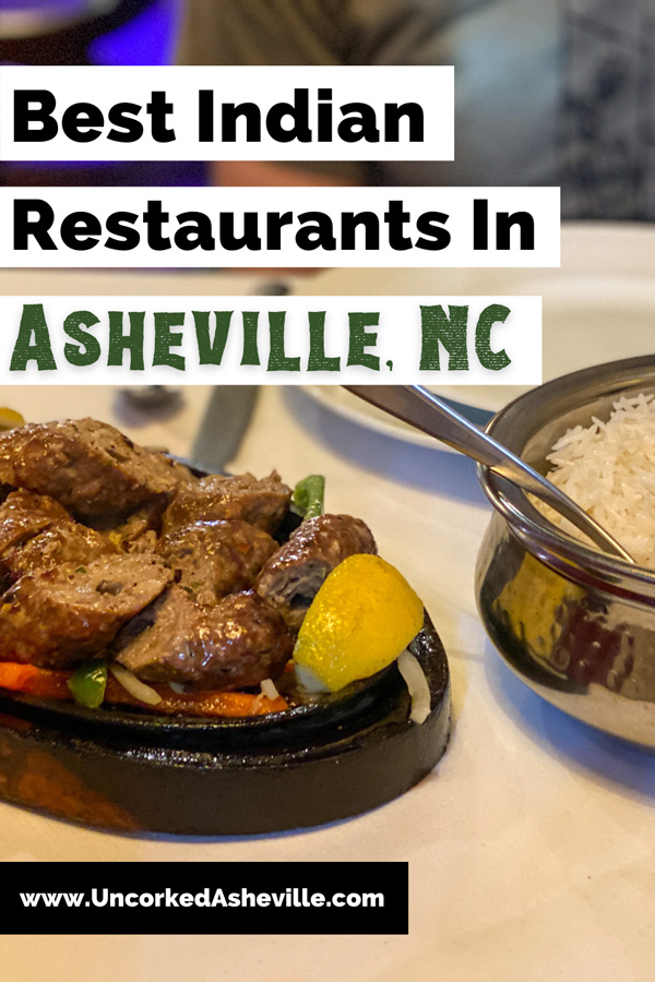 Best Indian Restaurants in Asheville NC Pinterest Pin with beef skillet and peppers from Andaaz in Biltmore Village