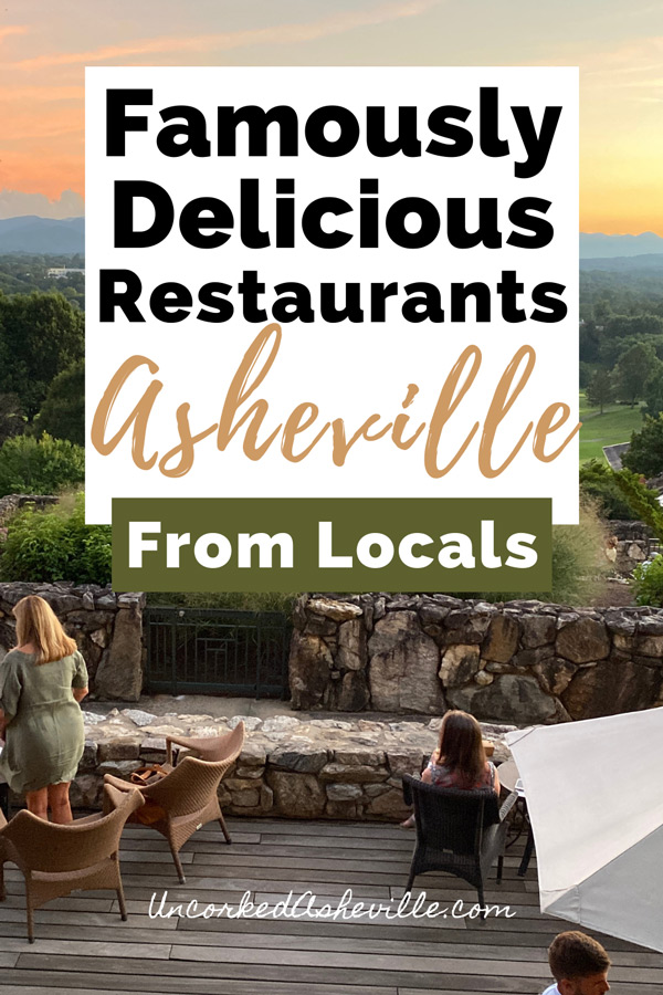 Best restaurants in Asheville NC Pinterest Pin with Sunset terrace view