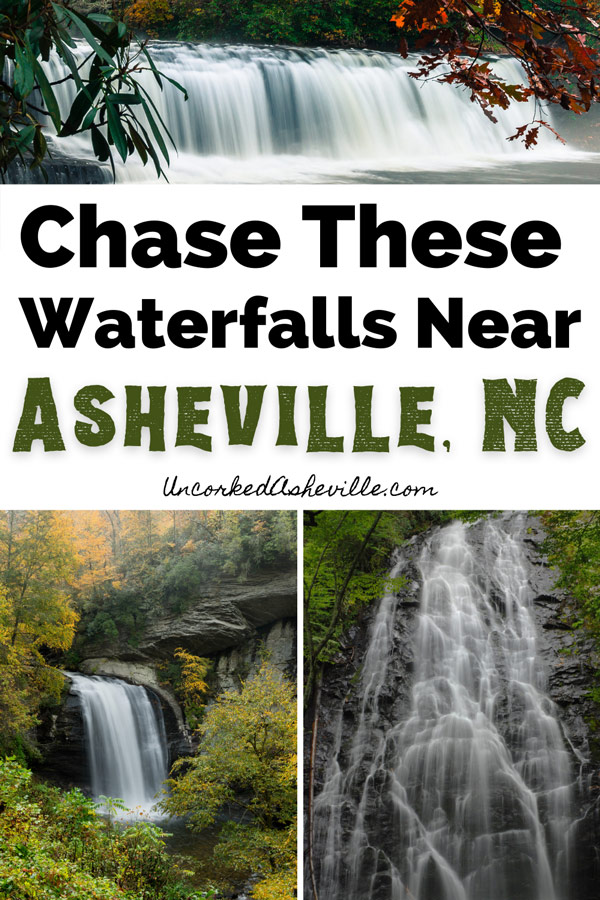 Best Waterfalls near Asheville, NC with pictures of Looking Glass Falls, Crabtree Falls, and Hooker Falls at DuPont State Forest