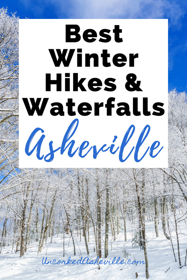 Best Winter Hikes and Waterfall Asheville Pinterest pin with Bearwallow Mountain covered in snow