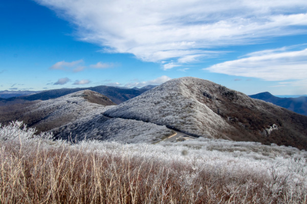 Blue Ridge Parkway Winter mountains with snow