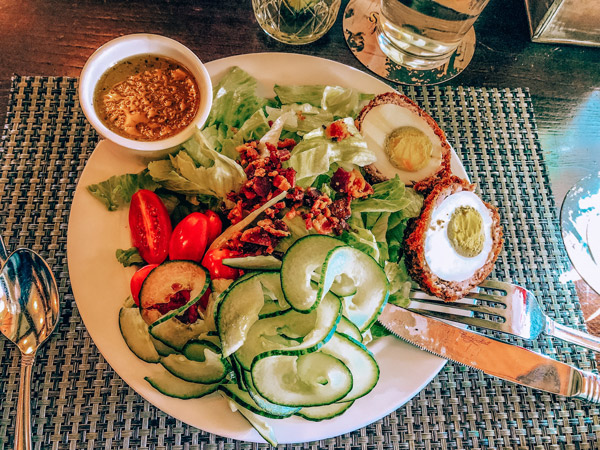 Cedrics Tavern Biltmore Estate with salad and fried egg